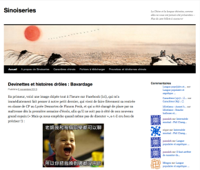 «Sinoiseries» un blog pour les férus de la languechinoise