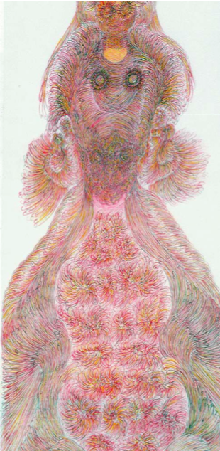 Monkey Queen and Her Children (detail), Guo Fengyi, 2003, colored ink on ricepaper, 498 x 97cm Source : Long March Space
