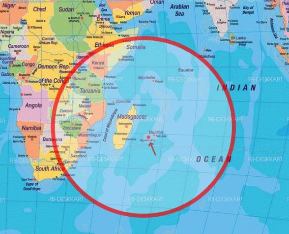 Carte l_île de La Réunion dans le monde